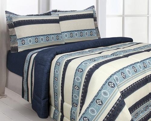 kit edredom casal 5pçs  travesseiro 2 fronhas +brinde lençol
