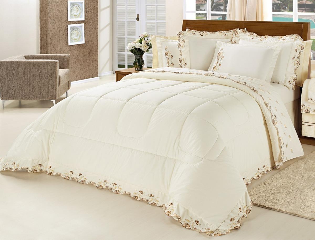 8622b25da3 kit edredom casal queen emozione marfim j. cama banho 16 pçs. Carregando  zoom.