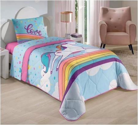 kit edredom + jogo de cama 3pc lepper + toalha unicórnio