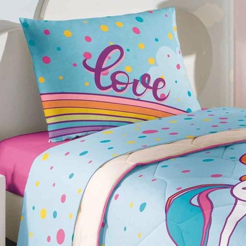 kit edredom + jogo de cama 3pc lepper unicórnio 100% algodão