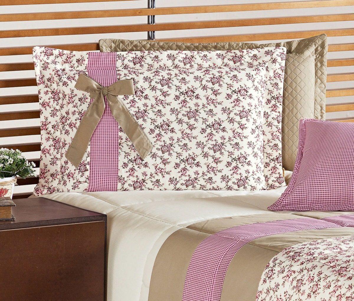91e936f7b4 kit edredom solteiro júlia cama 4 peças estampa floral rosê. Carregando  zoom.