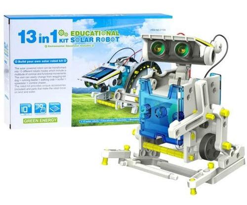 kit educacional robo solar 13 em 1 brinquedo montar robotica