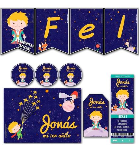 kit el principito invitaciones banderín stickers candy bar