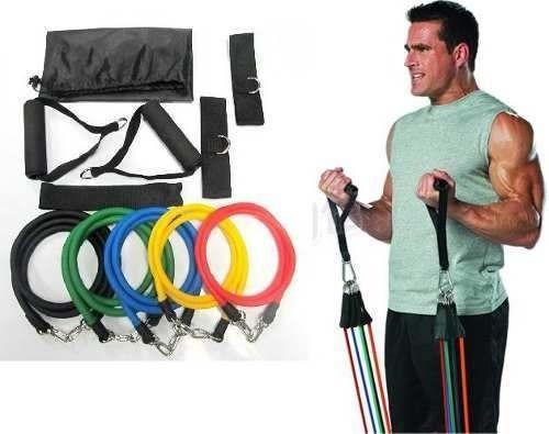 kit elásticos 11 peças exercícios, musculação, yoga, pilates