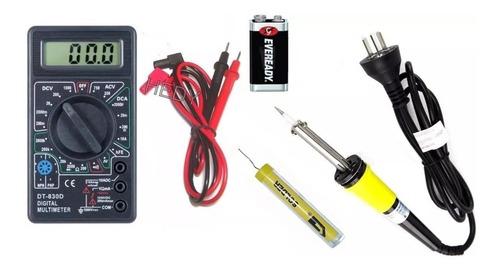 kit electronica 4 pzas tester bateria 9v soldador estaño