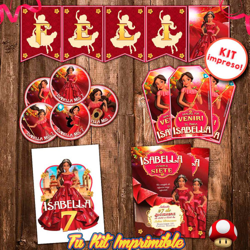 kit elena de avalor invitaciones sticker banderín tarjetitas