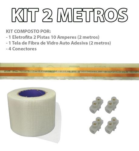 kit eletrofitas adesiva 2 pistas 2 metros 750v 10a