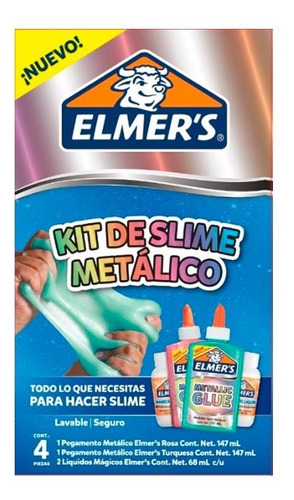 kit elmer's slime metalico 4 unid y kit color 2 unid y mas