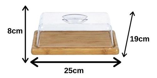 kit em bambu natural boleira + porta frios + queijeira