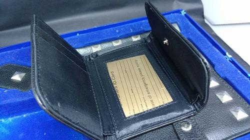 kit em couro legítimo e spikes carteira pulseira chaveiro cd