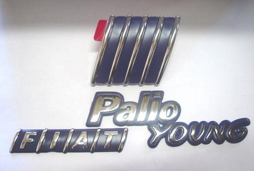 kit emblema fiat palio young + mala + capo 01/02 - bre