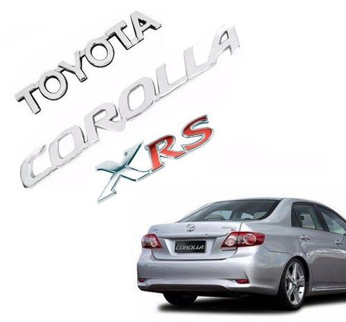 kit emblema nome toyota + corolla + xrs 2009 á 2014 cromado