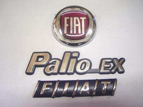 kit emblema palio ex + mala fiat + capo vermelho 98/00 - bre