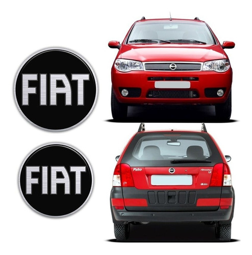 kit emblema resinado fiat black palio fire/weekend 04/08