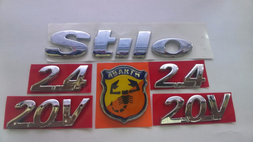kit emblema stilo + brasão abarth + 2x 2.4 20v 05/09 - bre