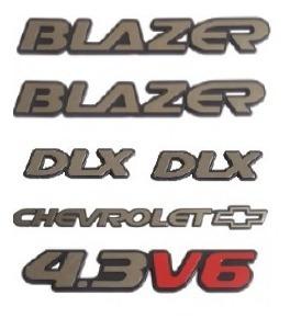 kit emblemas 2 blazer 2 dlx 1 chevrolet 1 4.3v6 + brinde