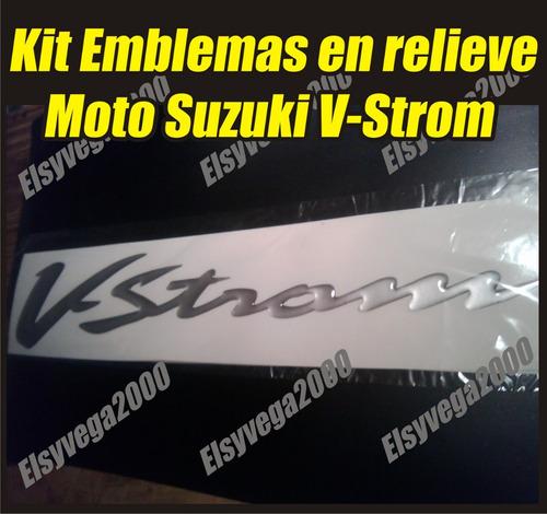 kit emblemas calcomanias en relieve moto suzuki v-strom