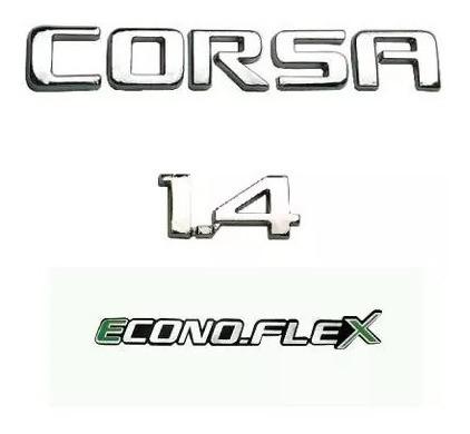 kit emblemas corsa 1.4 econoflex 2008 a 2012