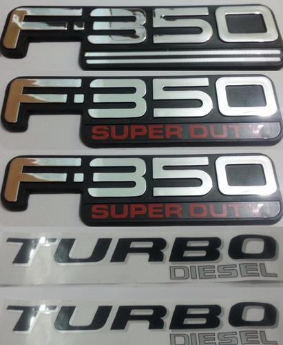 kit emblemas f-350 super duty turbo diesel 5 peças + brinde