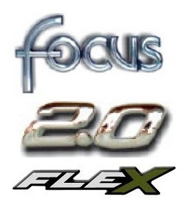 kit emblemas focus 2.0 flex brinde emblema chave ford