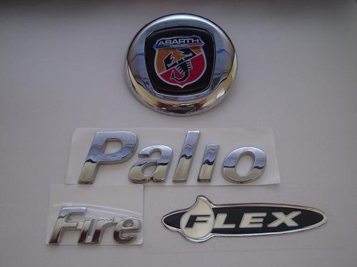 kit emblemas mala abarth + palio + fire + flex 04/...- bre