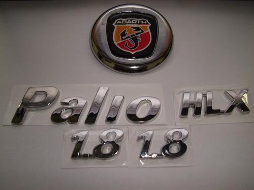 kit emblemas mala abarth + palio + hlx + 2x 1.8 04/...- bre