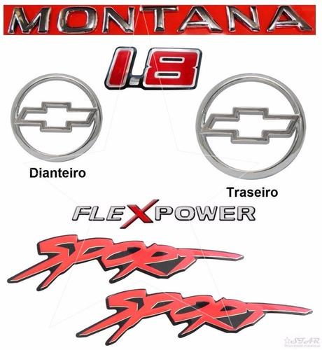 kit emblemas montana + adesivos 1.8 flex sport - 2003 à 2006