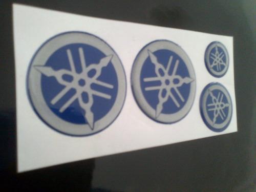 kit emblemas moto yamaha r1 y r6 en relieve azul y gris