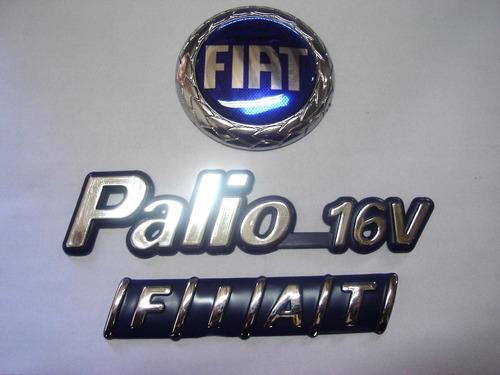 kit emblemas palio 16v + capo azul + mala 96/00 - bre