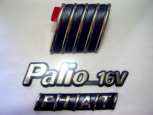 kit emblemas palio 16v + capo + mala 96/00 - bre