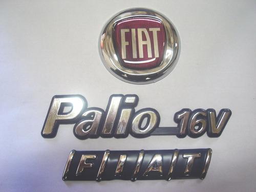 kit emblemas palio 16v + capo vermelho + mala 96/00 - bre