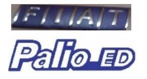 kit emblemas palio ed e fiat azul cromado + brinde