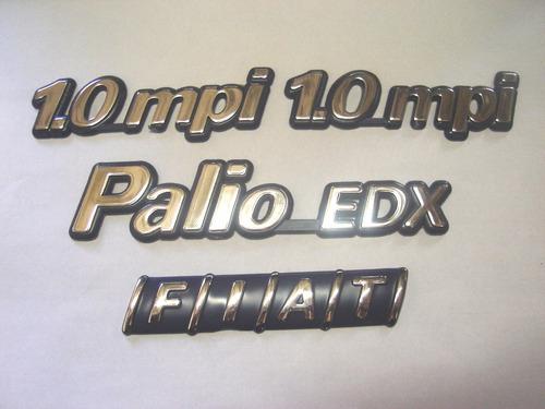 kit emblemas palio edx + 2x 1.0mpi + mala 96/99 - bre