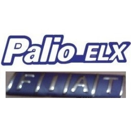 kit emblemas palio elx e fiat azul cromado+ brinde