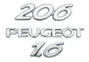 kit emblemas peugeot 206 1.6 cromado