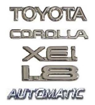 kit emblemas toyota corolla 1.8 xei automatic até 2003