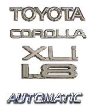 kit emblemas toyota corolla 1.8 xli automatic até 2003