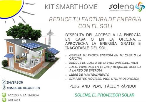 kit energía solar hogar smart home panel + inversor a red