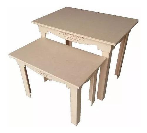 kit enfeite decoração  provençal aplique  2 mesas mdf cru