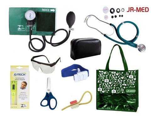 kit enfermagem aparelho de pressão verde premium completo