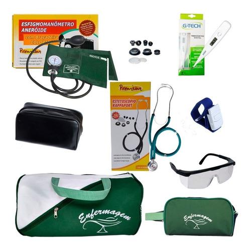 kit enfermagem estetoscópio duplo - 7 itens - novo!
