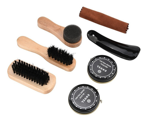 kit engraxar lustrar sapatos sapatilhas com estojo de viagem + 2x graxa + calçadeira + flanela + escovas para polir