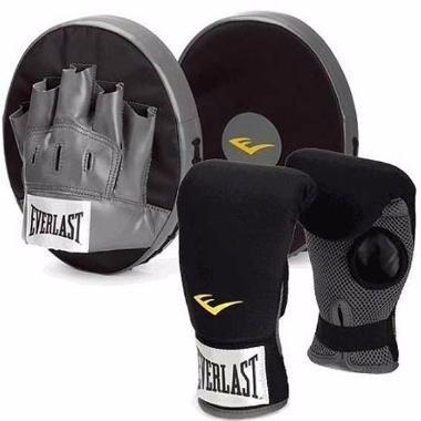 kit entrenamiento boxeo everlast / guantines + guantes foco
