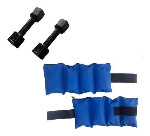 kit entrenamiento par de tobilleras 2 kg + par mancuerna 2kg