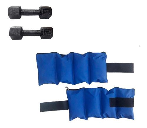 kit entrenamiento par de tobilleras 3 kg + par mancuerna 3kg