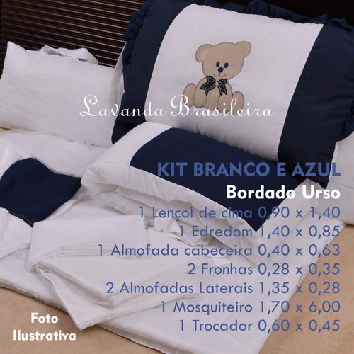 kit enxoval berço 9 peças promoção branco marinho ursinho