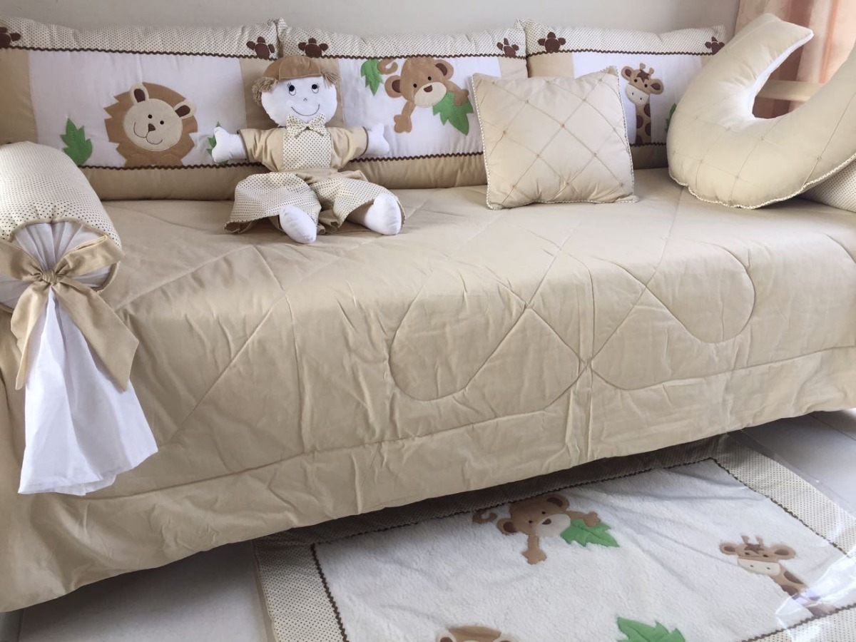 762fea1450 kit enxoval cama babá bebe 100% algodão safari palha. Carregando zoom.