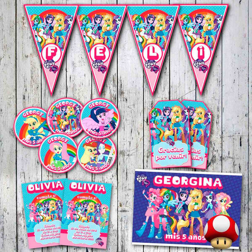 kit equestria girls invitaciones, stickers, banderín, cartel