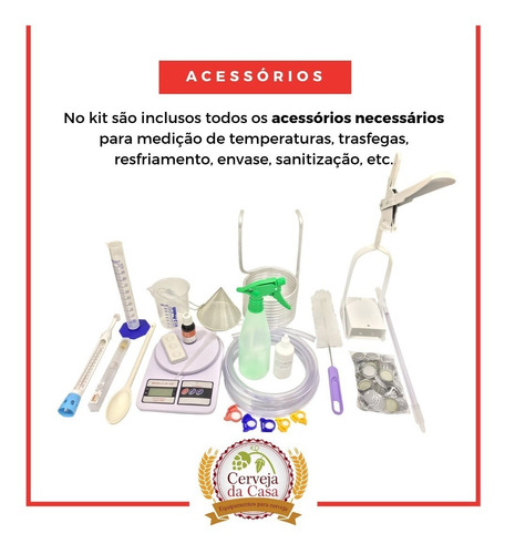 kit equipamento cerveja artesanal 10l c/ moedor + bomba inox