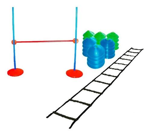 kit escalera coordinacion + valla para salto + conos tortuga